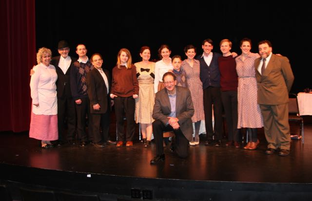 "On opening night the cast and director posed for a post-show photo. Left to right, Mary E. Brown, Adrien ""Mick"" Gamache, Andy Kaplan, Marc Mayo, Sophie Klemond, Lori Stein, Daisy Schreiber, Art Feinglass kneeling, SJTC artistic director, James Brammer, Deborah Hathaway, Dani Michael Miller, John Paul DeGennaro, Emma Wilkinson and Stephen Montsaroff."